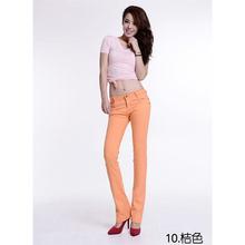 Новые хлопковые Однотонные эластичные брюки с высокой талией