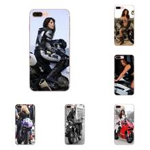 For Apple iPhone X XS Max XR 4 4S 5 5C 5S SE 6 6S 7 8 Plus Tpu Soft Black Phone Case Woman Power Rider Motorcycle(China)