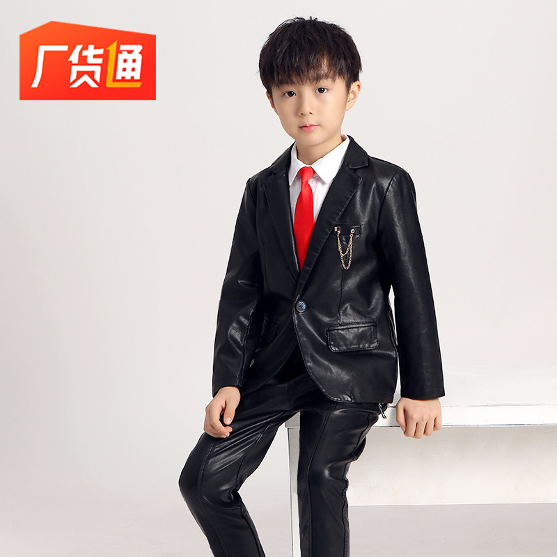 Children's Wedding Banquet Evening Dress Birthday Party Boy Suit Jacket + Shirt+ Pants +Tie+Accessory Small Suit