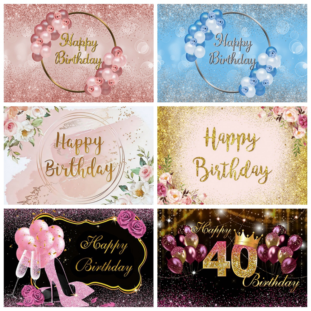 Baby Birthday Backdrop Pink Princess Balloon Flower Gold Glitter Custom Photography Background Wedding Photocall Photophone Prop