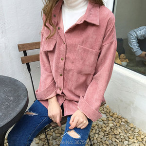Вельветовая рубашка, розовые, желтые Рабочие Рубашки с длинным рукавом, Женская Весенняя рубашка большого размера, блузка 2020, новые женские ...