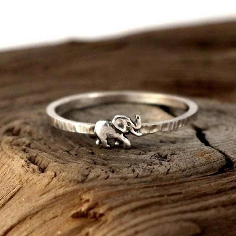 Новые модные серебряные ювелирные изделия для пары винтажные кольца с животными для женщин милые кольца со слонами для свадебный подарок для влюбленных Бесплатная доставка
