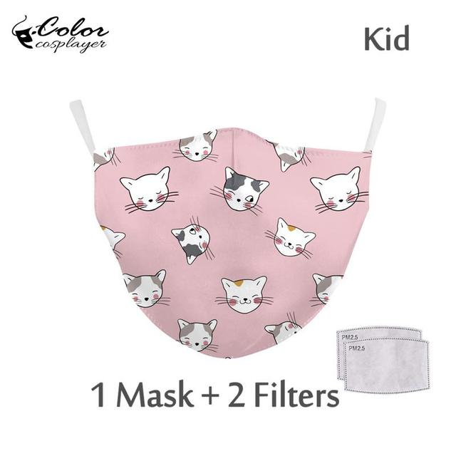 Color Cosplayer Kids Cartoon Face Fabric Masks Pink Cute Cat Print Mask Washable Reusable Children Mask Outdoor 2