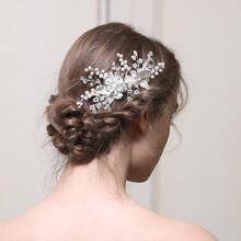 Metal Flower Pearl Hair Comb Bridal Hair Accessories Comb Ornament Hair Comb Accessories For Women Wedding Headpiece недорого