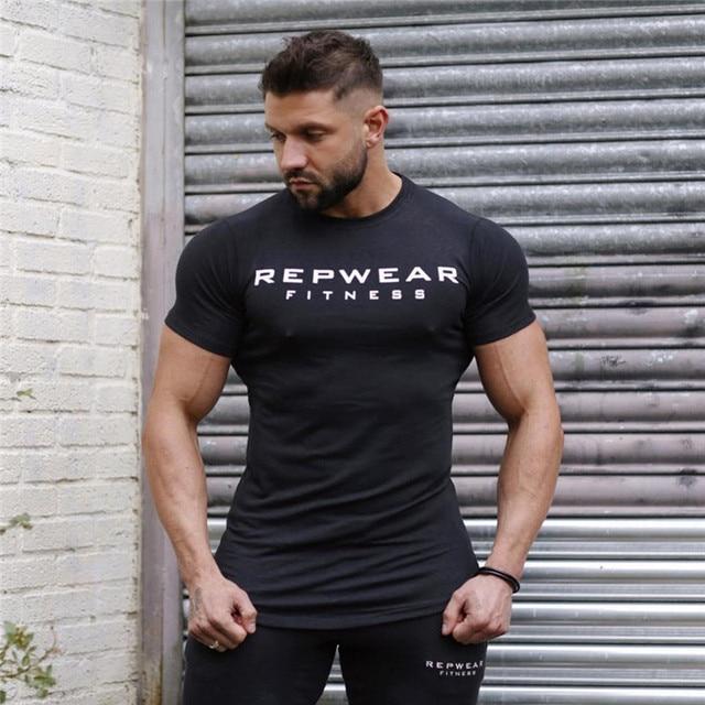2020 New summer shirt cotton gym fitness men t-shirt brand clothing Sports t shirt male print short sleeve Running t shirt