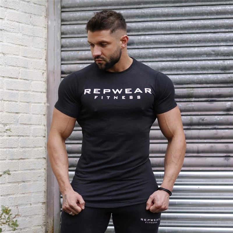 2020 New summer shirt cotton gym fitness men t-shirt brand clothing Sports t shirt male print short sleeve Running t shirt
