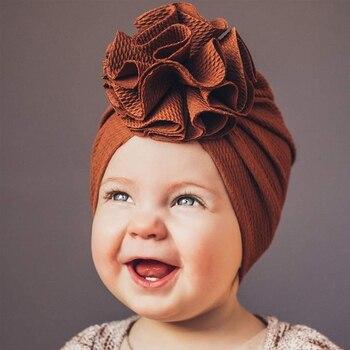 22 unids/lote sombrero de girasol sólido Seersucker para bebé 0-3T turbante niño pequeño gorra para Recién Nacido gorro turbante niños diadema