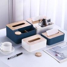 Plastic Wood Tissue Box Desktop Nordic Paper Towel Rack Holder Removable Storage Box Home Office Organizer Home Accessories