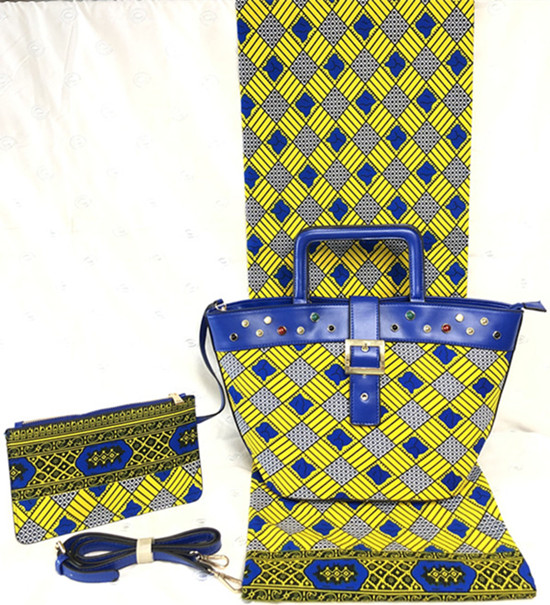 아프리카 왁 스 인쇄 패브릭 ankara 패브릭 2pcs 여성 핸드백 아프리카 패브릭 6 야드 100% 코 튼 원단 패치 워크 TN A53-에서직물부터 홈 & 가든 의  그룹 1