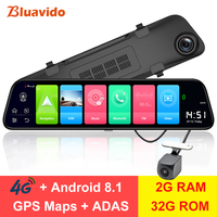 Bluavido 12 Rearview mirror 4G Android 8.1 dash camera 2G RAM 32G ROM GPS Navigation car video recorder ADAS WiFi night vision