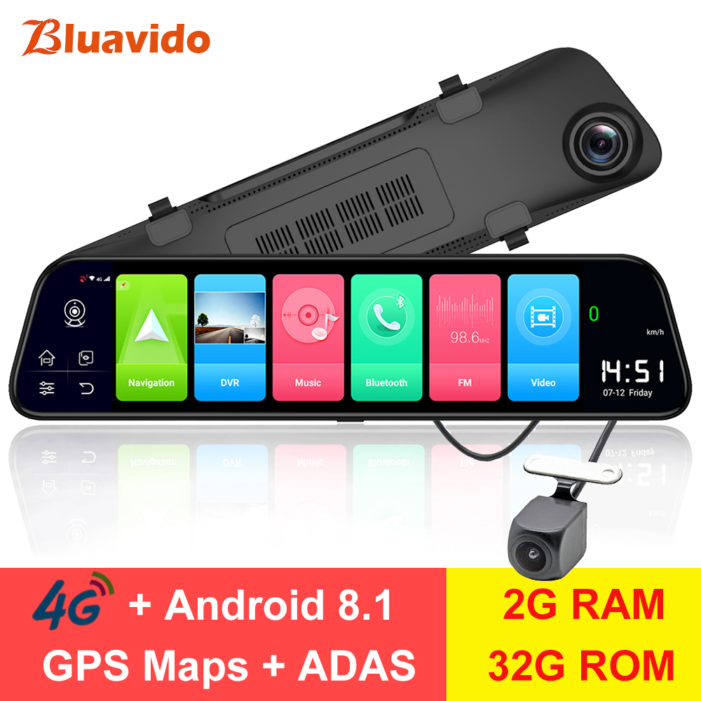 Bluavido 12 rétroviseur 4G Android 8.1 caméra tableau de bord 2G RAM 32G ROM GPS Navigation voiture enregistreur vidéo ADAS WiFi vision nocturne