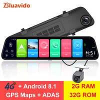 """Bluavido 12 """"rétroviseur 4G Android 8.1 caméra tableau de bord 2G RAM 32G ROM GPS Navigation voiture enregistreur vidéo ADAS WiFi vision nocturne"""