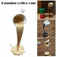 Creative Floating Spilling Coffee Cup Sculpture Magic Pouring Splash Hanging Coffee Cup Resin Standing Coffee Mug Kitchen Decor
