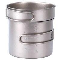 1100Ml Titanium Pot Pan Set Super Lightweight Camping Cookware Set Outdoor Tableware Cooking Tool With Folding Handle
