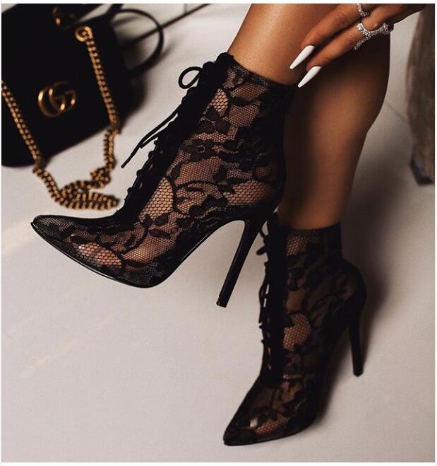 New Mature Mesh Women Boots Floral Lace-Up Thin High Heels Ankle Pointed Toed Party Wedding Shoes Black Size 35-40