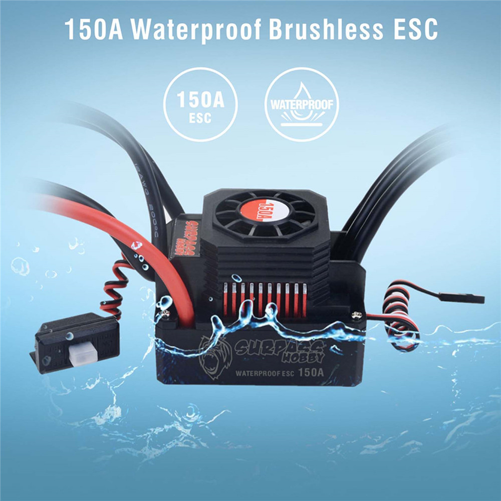 Professional Waterproof 4076 <font><b>2000KV</b></font> Brushless <font><b>Motor</b></font> 150A ESC Electric Speed Controller for 1/8 RC Car Upgrade Parts image