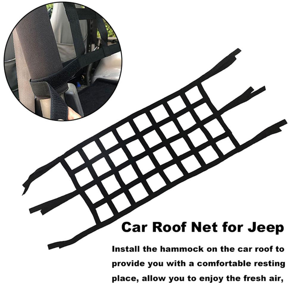 Car Roof Net High Strength Oxford Cloth Easy Installation No Need to Make Any Changes Heavy Duty Roof Net Car Hammock Cargo Sunshade Soft for Wrangler JK 07-18