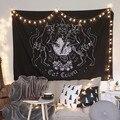 Katze Hexerei Tapisserie Wand Hängen Wandteppiche Mysterious Divination Baphomet Occult Hause Wand Schwarz Kühlen Dekor Katze Coven