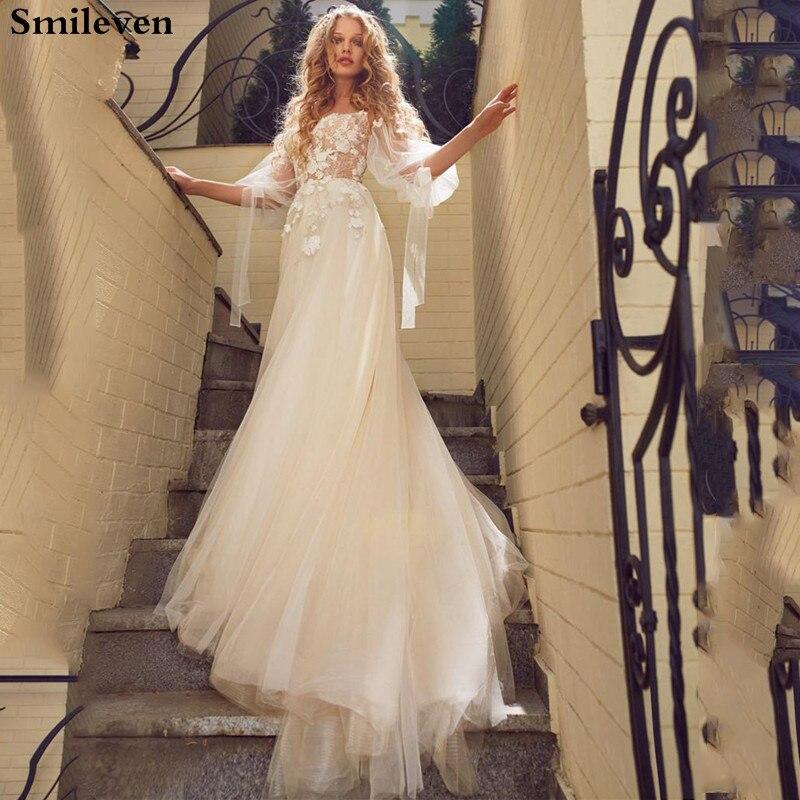 Smileven Puff Sleeve Wedding Dress 2020 Boho 3D Appliques Blaceless Vestido De Noiva  Tulle Lace Bridal Dresses Custom Made
