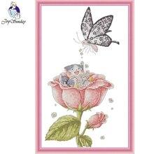 Joy Sunday,Flower,cross stitch embroidery,Cartoon cross pattern,cross needlework,Flower pattern kit