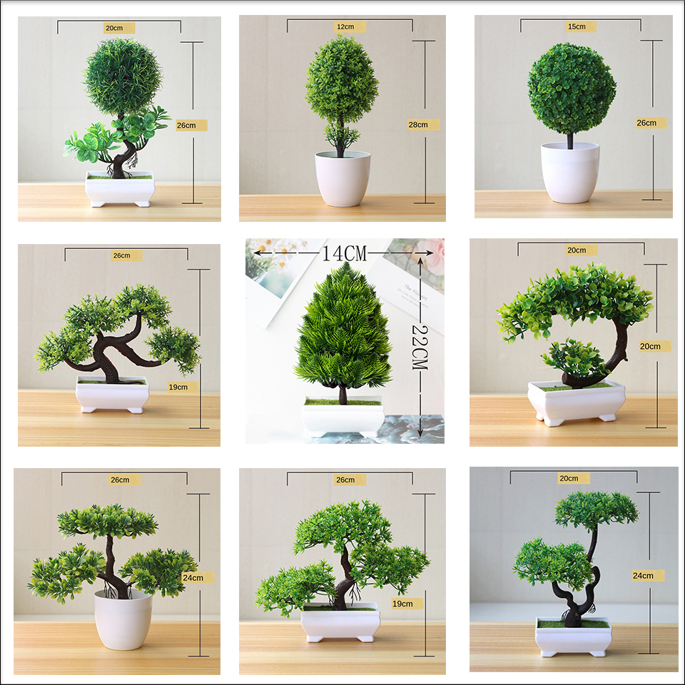 Bonsai verde artificiais plantas pequenas, árvore verde arte doméstica/jardim/mesa de decoração plantas de plástico falsas com vaso suprimentos 1pc