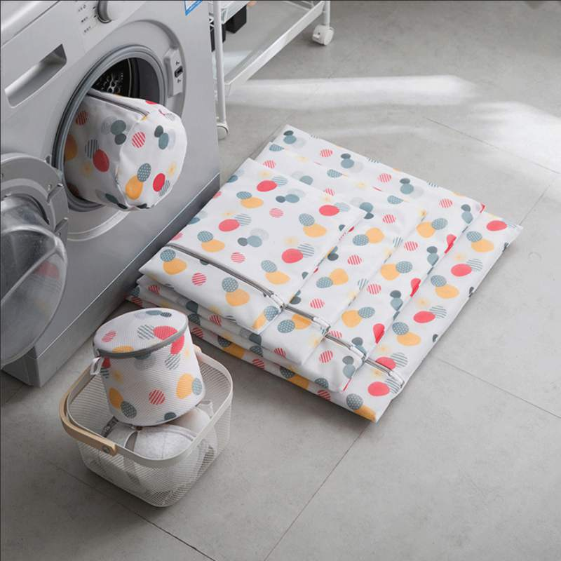 Colorful Laundry Bag Bra Wash Bag Printing Folding Laundry Bag Travel Clothing Storage Bag For Underwear Socks