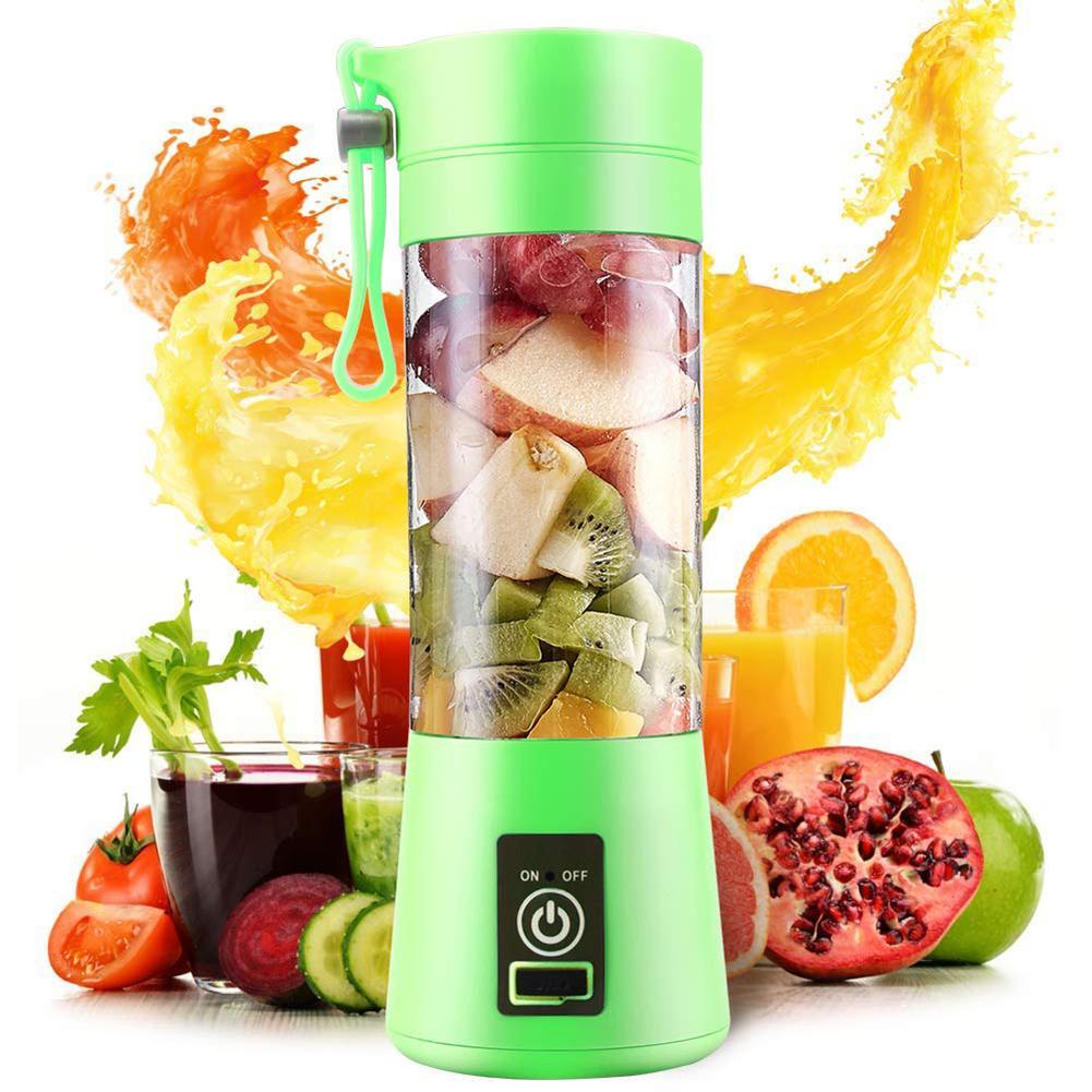 4 bıçaklı taşınabilir Blender elektrikli Blender USB şarj edilebilir 500ml meyve sıkacağı bardağı sıkacağı meyve Smoothie makinesi bardak şişe ve kapak
