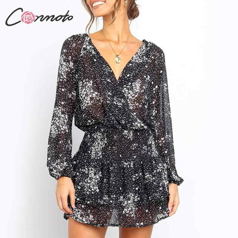 Conmoto Sexy szyfonowa jesień zima sukienka kobiety Ruffles Twist Femme latarnia rękaw krótki Party Plus rozmiar sukienka Vestidos 2019