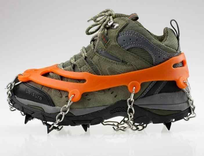 1 çift açık buz tutucu açık kramponlar Antiskid ayakkabı kapakları tırmanma pençe kar yürüyüş kayak ayakkabı çivi zinciri 8 dişli