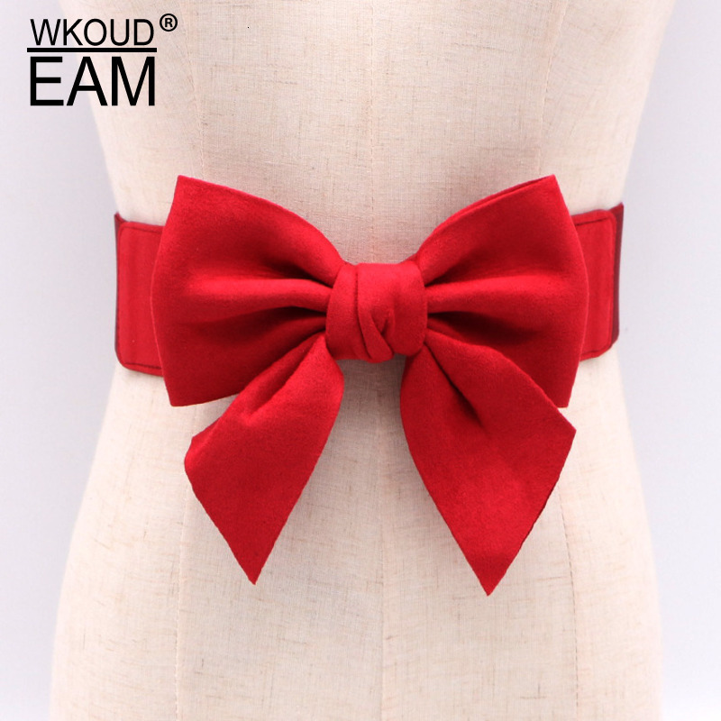 WKOUD EAM 2020 New Fashion Autumn Winter Wid Belt For Women Korea Style Elastic Bandcasual Tide Solid Bow Girdle Female ZJ927