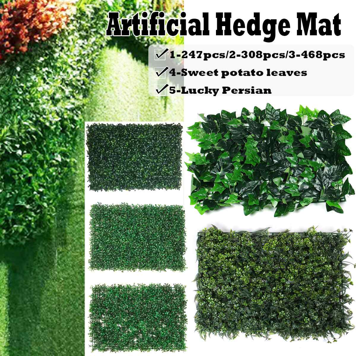 1pcs Outdoor Artificial Hedge Privacy Fence Grass Mat 40x60cm