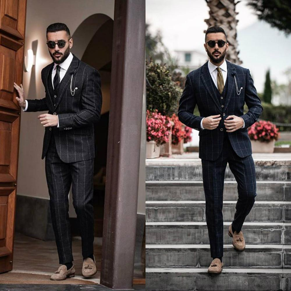 Damier Check Mens Suits 3 Pieces Wedding Tuxedos 2020 Formal Slim Fit Peaked Lapel Customize Groom Suit