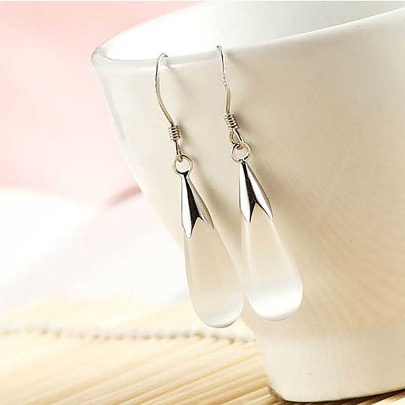 Bague Ringen Elegant Female Silver 925 Jewelry Korean fashion Earrings for Women with Cat's Eye Stone Water-drop shape 2 colors