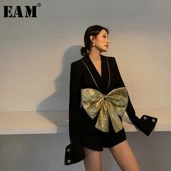 [EAM] Loose Fit Women Black Bow Split Playsuits New High Waist Pocket Stitch  Pants Fashion Tide Spring Autumn 2020 1W481