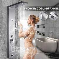 Brushed Nickel Thermostatic Shower Column Waterfall Rainfall Shower Panel with Jets Tub Spout Hand Shower Tower Shower Column