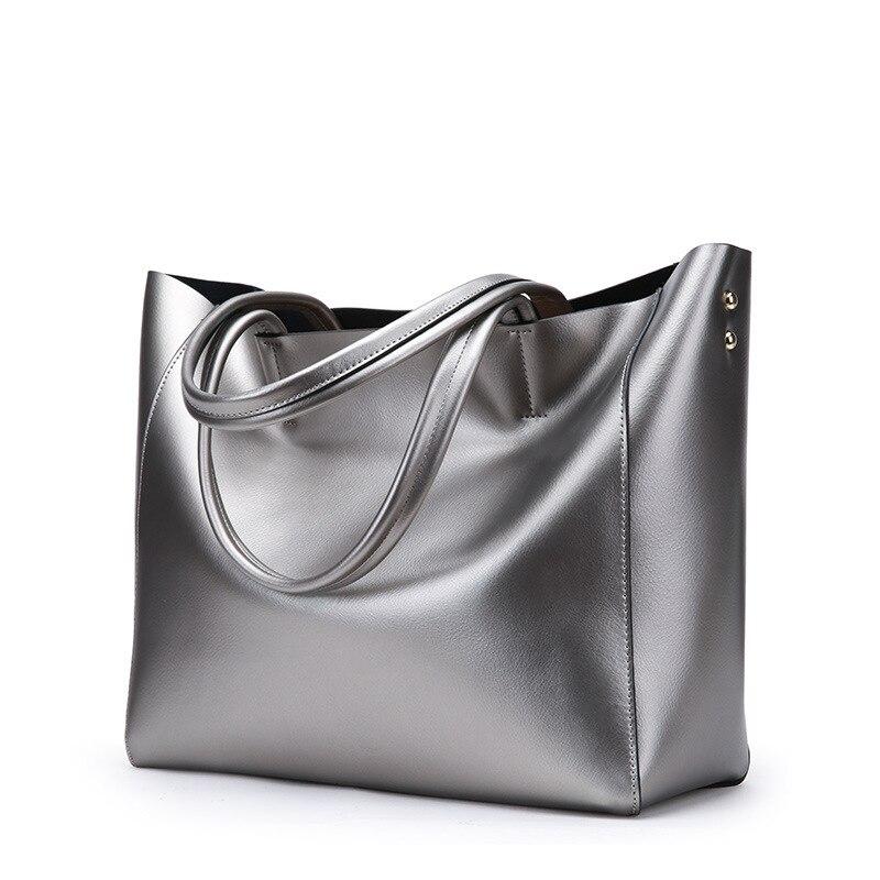 Silver Genuine Leather Women Bags Luxury Brand Big Ladies Shoulder Bags Female Tote Handbags Top-Handle Bag 2018