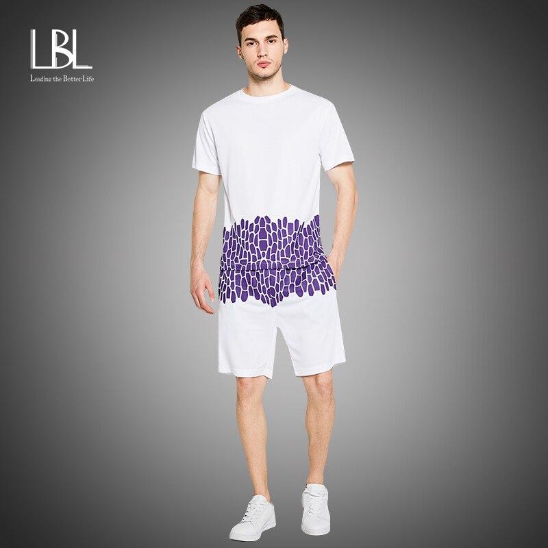 קיץ סטים קצרים גברים 2020 מקרית חליפות ספורט Mens בגדי גבר שתי חתיכות אופנה הדפסת למעלה סטי זכר סווטשירט גברים מותג