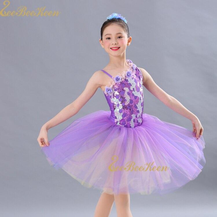 Fille Tutu robe de Ballet professionnel Ballet costume femmes fronde violet paillettes diagonale épaule fleur robe de danse pour les enfants