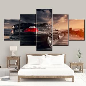 5 paneles de Pintura de coches deportivos BMW E46, decoración del hogar para el cuadro para el salón, lienzo de Arte de pared Modular moderno