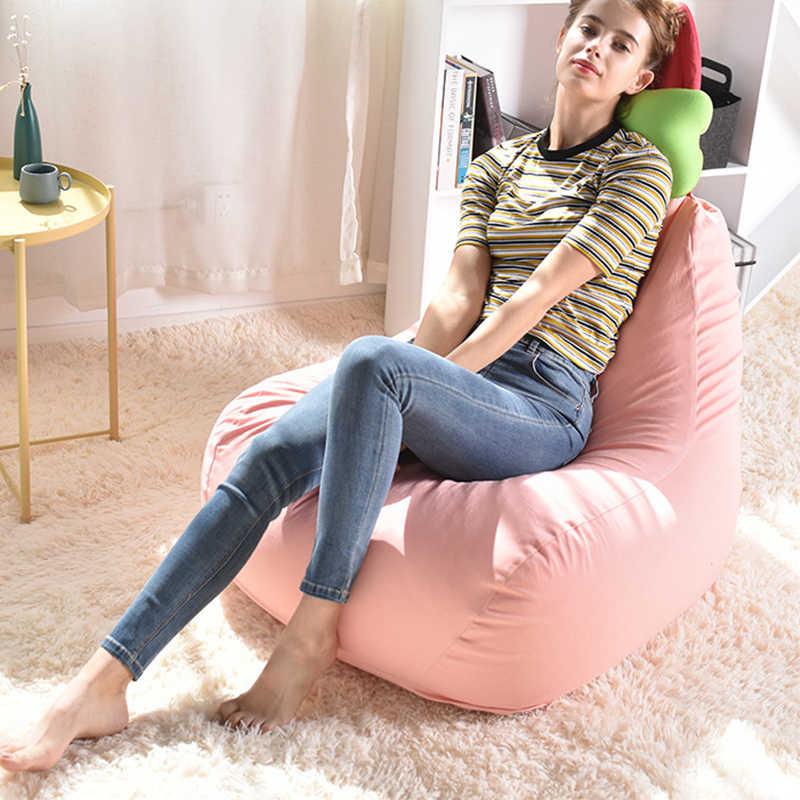 Conejo lindo Niño de bolsa cubierta de la silla tumbona de bolsa de frijol sofá cama Tatami PUF dormitorio muebles de asiento puff