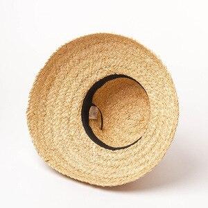 Image 4 - Sommer hüte für frauen Retro flache hängenden hut krempe hand made bast stroh hut damen outdoor sonnenschutz strand stroh hut