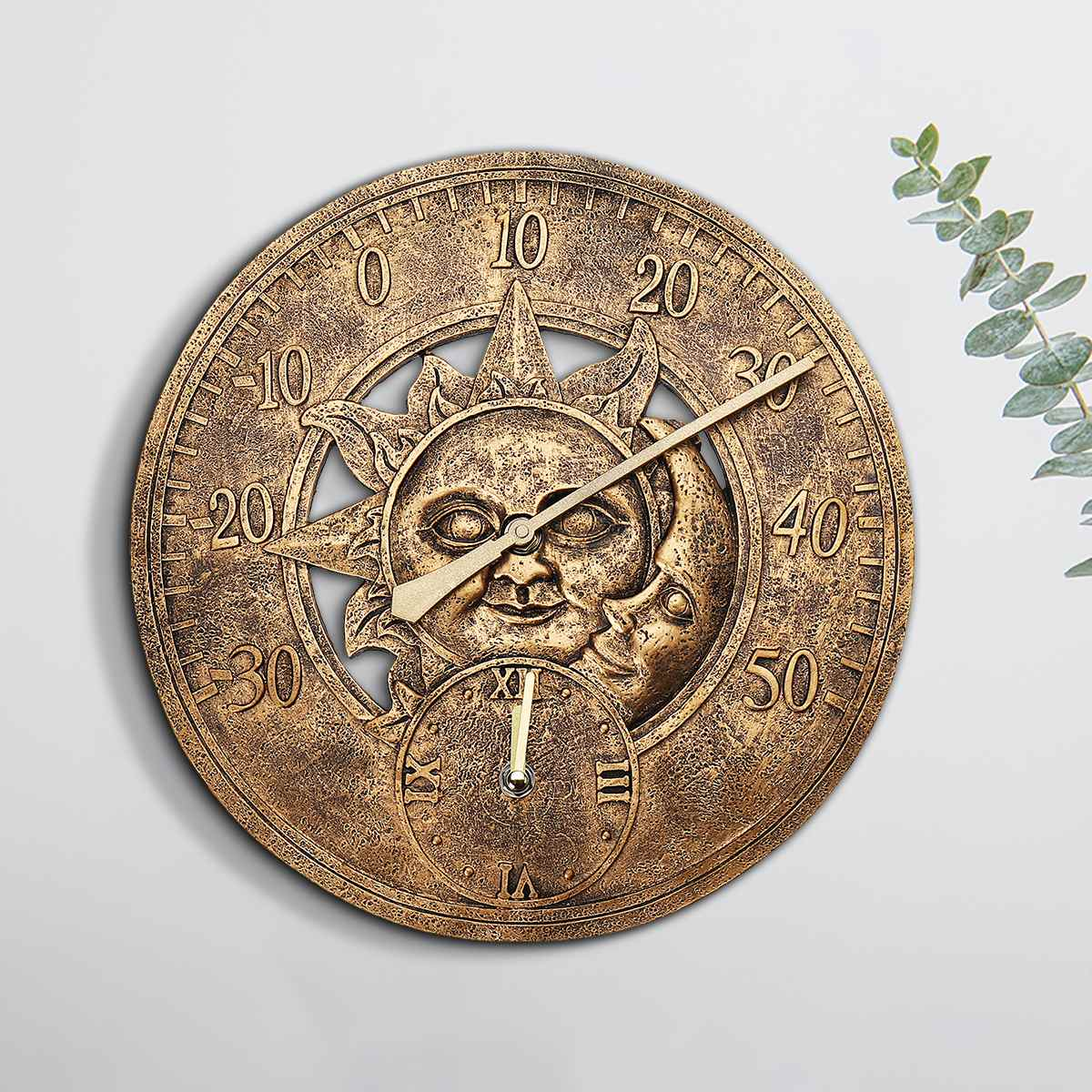 Resin Wall Clock With Thermometer Garden Outdoor Decoration Home Indoor Waterproof Wall Station Clock 12 Inch Sun And Moon Theme