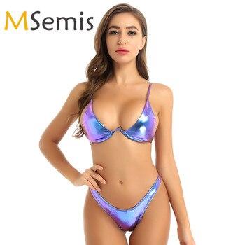 цена на Womens Shiny Metallic Bikini Swimsuit Swimwear Bathing Suit Set Padded Underwire Bra Top with High Cut Thong Briefs Bottom