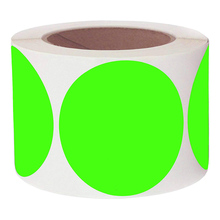 250pcs / 3 inch fluorescent green paste label advanced round stationery sticker repair point writable surface