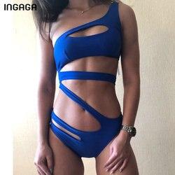 INGAGA قطع قطعة واحدة ملابس السباحة 2020 واحد الكتف ملابس النساء الصلبة ضمادة Monokini المرأة لباس سباحة مثير جديد الاستحمام