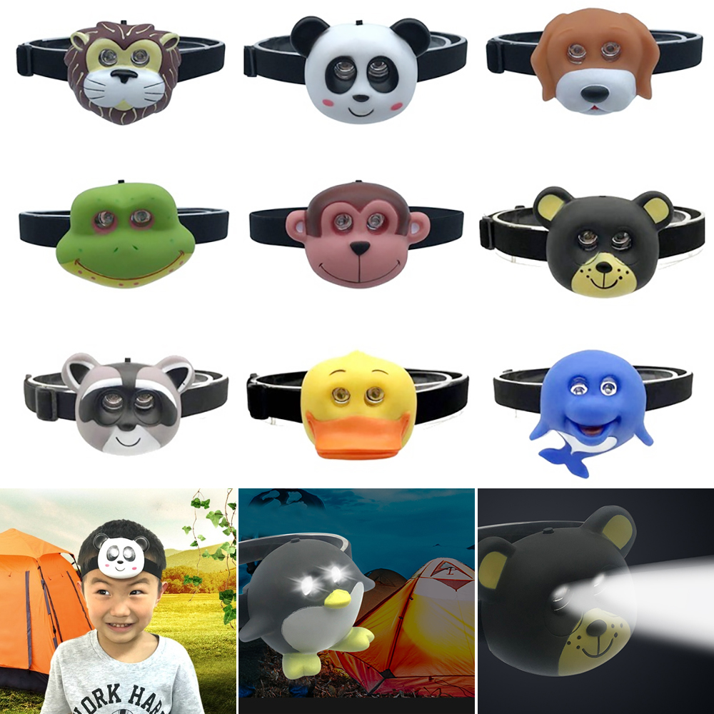 Child Outdoor 2 LED Headlight AAA Battery Animal Shape Cute Headlamp Flashlight On Head For Boy Girl Camping Kids Creative Gift