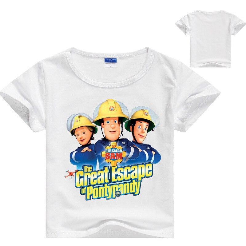 Fireman Sam Boys Long Sleeve Top T-Shirt Tee Grey White Red New 2-8 Years