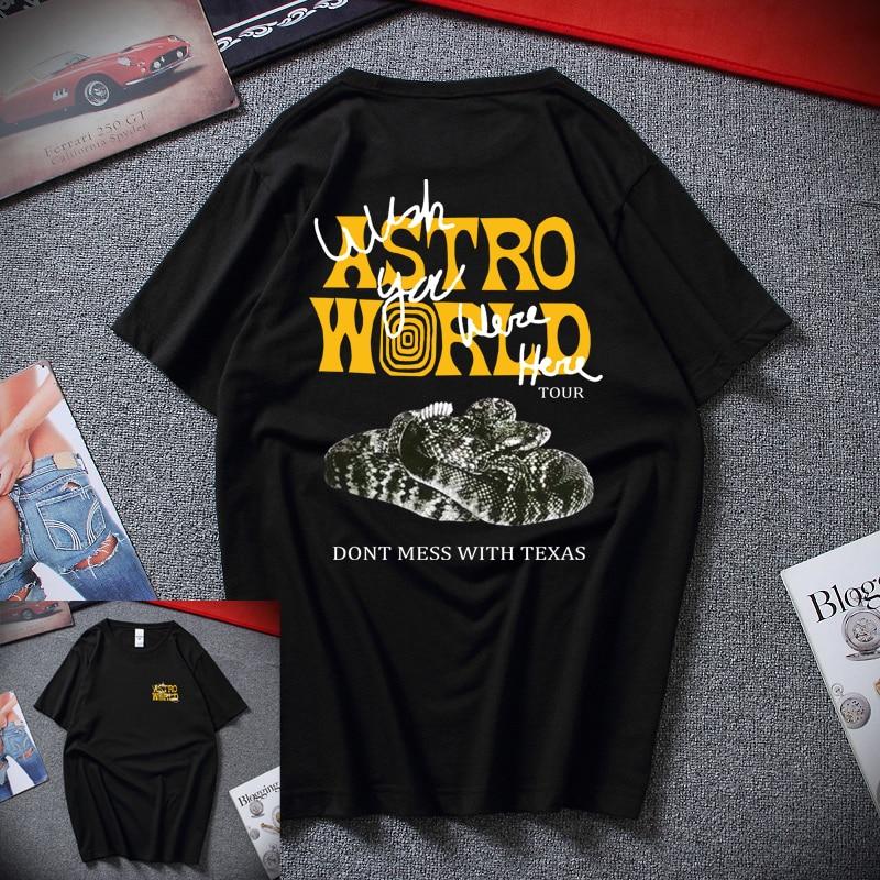 2019 Новая модная футболка Мужская хип-хоп женские хип-хоп рэп музыка астромир футболки Harajuku WISH YOU WAS HERE Письмо печати футболки