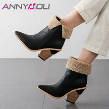 ANNYMOLI Women Boots Winter Ankle Boots High Quality Strange Style Heel Short Boots Extreme High Heel Shoes Ladies Fall Size 43 ladies handmade fashion asokate booty buir 100mm zipper fall winter high heel ankle boots shoes cke081