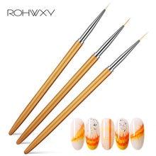 Rohwxy escovas da arte do prego uv pintura gel grade listra linha desenhar escova de cabelo de náilon caneta para gradiente manicure diy prego ferramenta forro